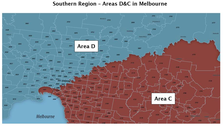 Map - Area D/Area C border